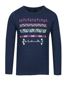Tmavomodré dievčenské tričko s potlačou a dlhým rukávom Blue Seven