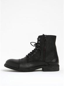 Čierne kožené členkové topánky Selected Homme Trevor