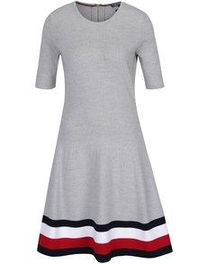 Světle šedé vlněné šaty s krátkým rukávem Tommy Hilfiger