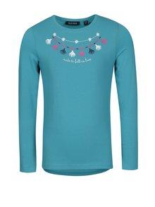 Tyrkysové dievčenské tričko s potlačou a dlhým rukávom Blue Seven