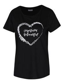 Tricou negru cu print Jacqueline de Yong Marble