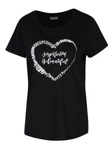 Čierne tričko s potlačou Jacqueline de Yong Marble