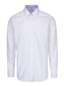 Biela pánska formálna košeľa so vzorovaným lemom VAVI