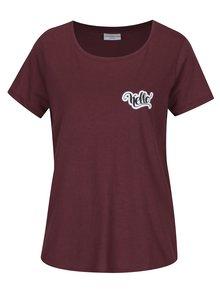 Vínové tričko s potlačou Jacqueline de Yong Marble
