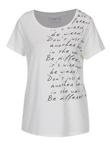 Tricou crem cu print text Jacqueline de Yong Marble