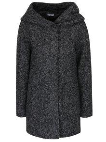 Tmavosivý melírovaný kabát s kapucňou Jacqueline de Yong Olivia