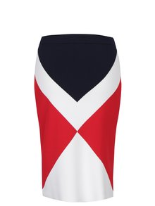 Krémovo-červená pouzdrová vzorovaná sukně Tommy Hilfiger