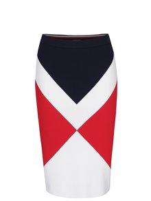 Krémovo-červená puzdrová vzorovaná sukňa Tommy Hilfiger