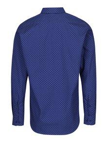 Tmavomodrá formálna pánska košeľa s bielymi bodkami VAVI