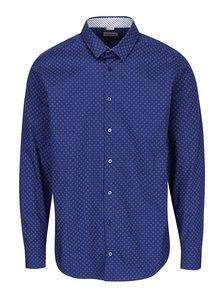Tmavě modrá formální pánská košile s bílými puntíky VAVI