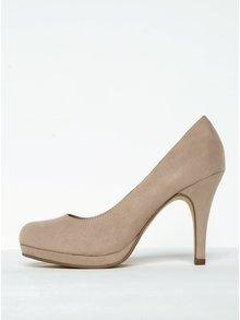 Pantofi bej cu toc și platformă Tamaris