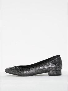 Čierne trblietavé kožené baleríny Tamaris
