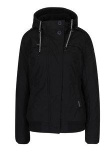 Čierna dámska bunda s umelým kožúškom a kapucňou Ragwear Ewok