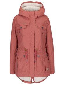 Ružová dámska zimná bodkovaná parka Ragwear Laika Minidots
