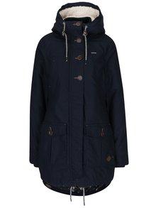 Tmavě modrý dámský kabát s kapucí a umělým kožíškem Ragwear Jane