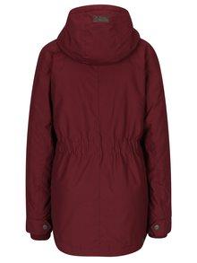 Vínová dámska bunda s kapucňou s umelým kožúškom Ragwear Monade