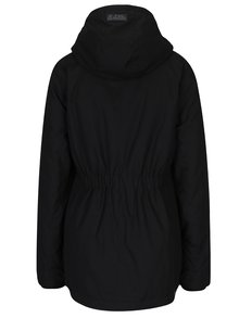 Čierna dámska bunda s kapucňou s umelým kožúškom Ragwear Monade