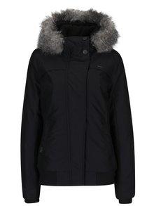 Čierna dámska vodovzdorná bunda s kapucňou a umelým kožúškom Ragwear Wooki