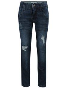 Tmavě modré klučičí slim džíny s potrhaným efektem name it Ator