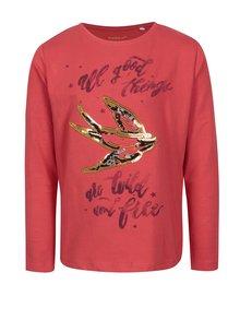 Červené dievčenské tričko s motívom lastovičky name it Kannas