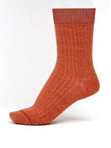 Cihlové dámské žíhané ponožky s třpytivými detaily mp Denmark Louise