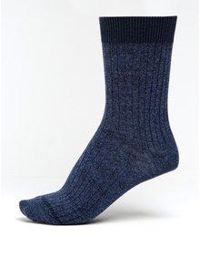 Tmavě modré dámské žíhané ponožky s třpytivými detaily mp Denmark Louise