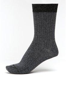 Tmavě šedé dámské žíhané ponožky s třpytivými detaily mp Denmark Louise