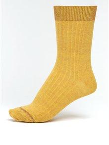 Hořčicové dámské žíhané ponožky s třpytivými detaily mp Denmark Louise