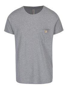 Šedé žíhané tričko s kapsou Kronstadt Hey Ho