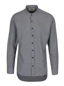 Sivá melírovaná košeľa Kronstadt Dean Mandarin