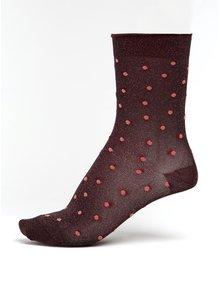 Vínové dámské třpytivé puntíkované ponožky mp Denmark Swan
