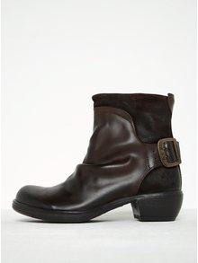 Tmavohnedé dámske kožené členkové topánky s prackou FLY London