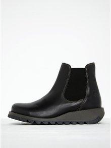 Čierne dámske kožené chelsea topánky FLY London