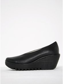Balerini wedge negri din piele naturală - FLY London