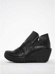 Černé dámské kožené kotníkové boty na platformě FLY London