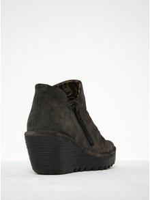Tmavosivé dámske semišové členkové topánky na platforme FLY London