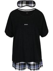 Set cadou pijama neagra si masca pentru dormit DKNY