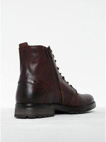 Tmavohnedé kožené členkové topánky so zipsom Jack & Jones Worca