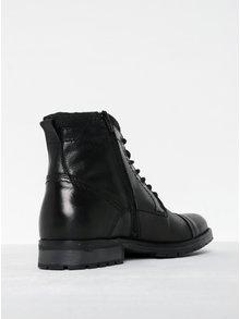 Čierne kožené členkové topánky so zipsom Jack & Jones Marly
