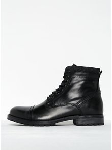 Černé kožené kotníkové boty se zipem Jack & Jones Marly