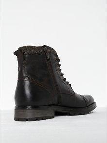 Tmavohnedé kožené členkové topánky so zipsom Jack & Jones Marly