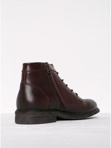 Tmavě hnědé kožené kotníkové boty se zipem Selected Homme Trevor