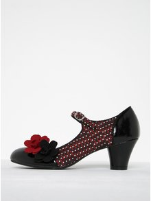 Pantofi cu baretă și toc gros burgundy & negru - Ruby Shoo
