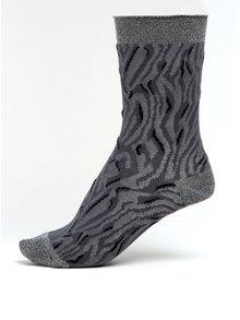 Šedé dámské vzorované ponožky s třpytivými detaily mp Denmark Fanny