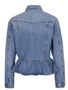 Jacheta albastră peplum din denim VERO MODA Merny