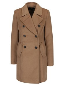 Světle hnědý kabát s příměsí vlny VERO MODA Pisa