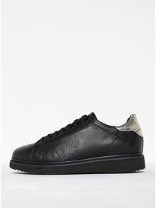 Čierne dámske kožené tenisky so striebornými detailmi Geox Thymar A