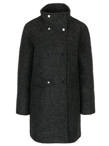 Tmavosivý žíhaný kabát s prímesou vlny VERO MODA Emra