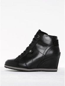 Čierne dámske kožené topánky na platforme Geox Illusion A