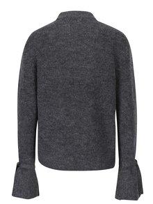 Sivý melírovaný sveter so zvonovými rukávmi VERO MODA Elina